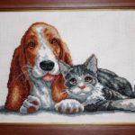 Вышивка Марии Лудановой Кот и пёс